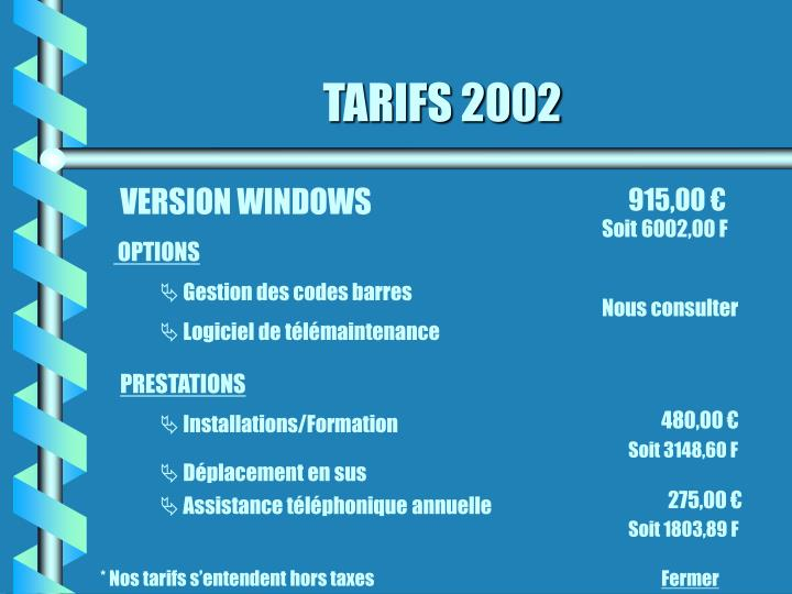 TARIFS 2002