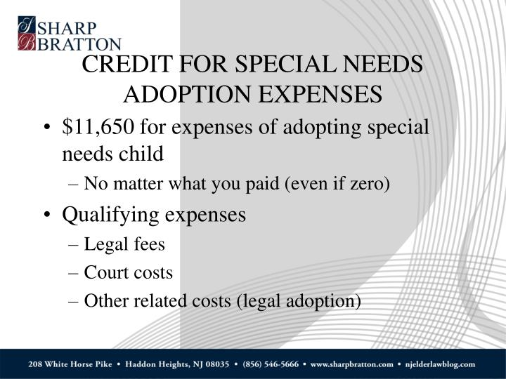 CREDIT FOR SPECIAL NEEDS ADOPTION EXPENSES