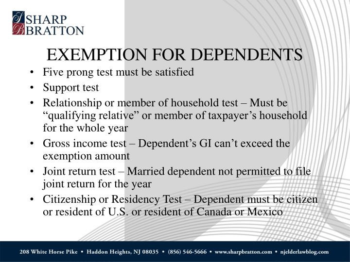 EXEMPTION FOR DEPENDENTS