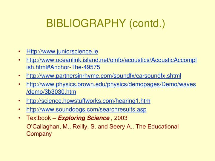 BIBLIOGRAPHY (contd.)