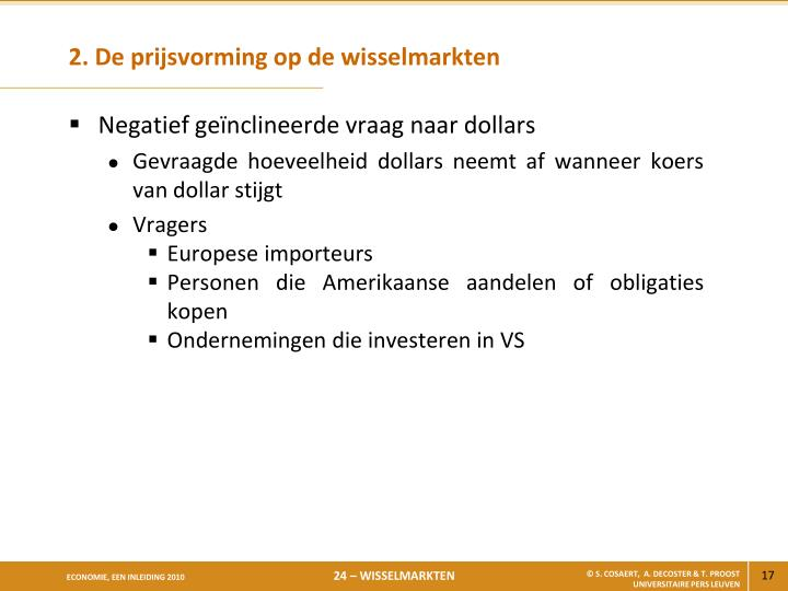 2. De prijsvorming op de wisselmarkten