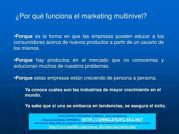 ¿Por qué funciona el marketing multinivel?
