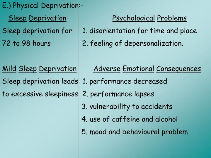 E.) Physical Deprivation:-
