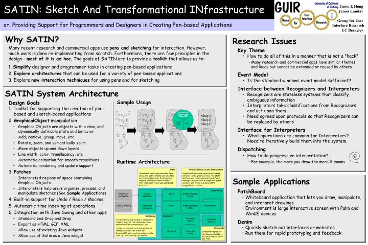 SATIN: Sketch And Transformational INfrastructure