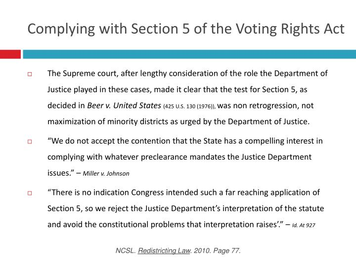 Complying with Section 5 of the Voting Rights Act