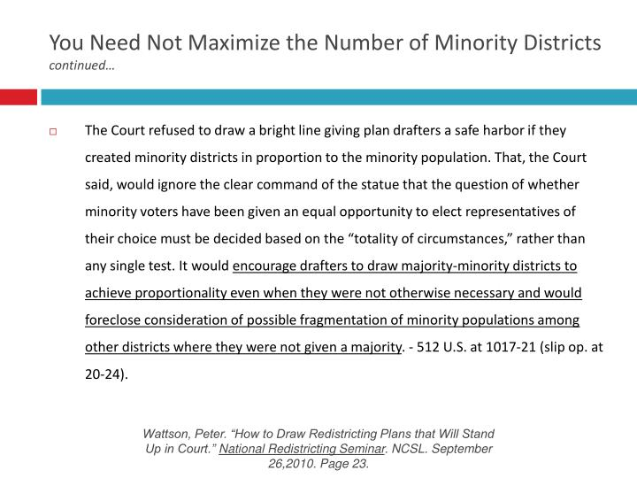 You Need Not Maximize the Number of Minority Districts