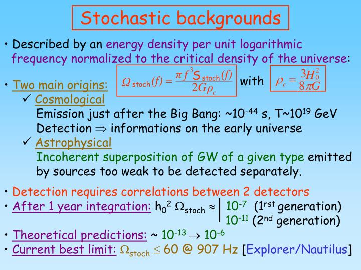 Stochastic backgrounds