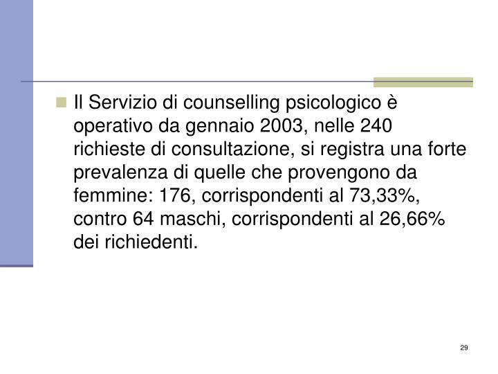 Il Servizio di counselling psicologico è operativo da gennaio 2003, nelle 240 richieste di consultazione, si registra una forte prevalenza di quelle che provengono da femmine: 176, corrispondenti al 73,33%, contro 64 maschi, corrispondenti al 26,66% dei richiedenti.