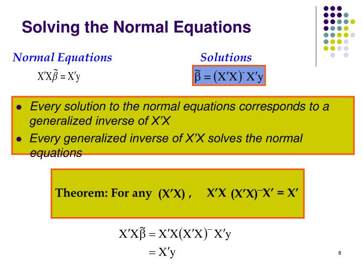 Theorem: For any            ,     X'X            X' = X'