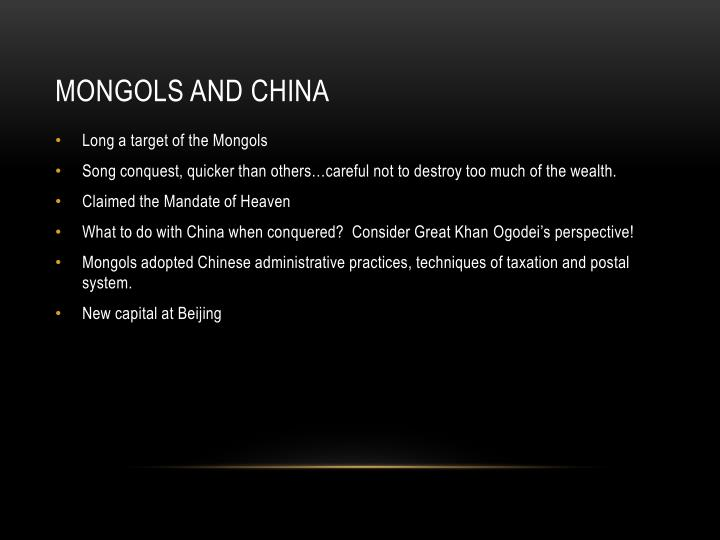 Mongols and China
