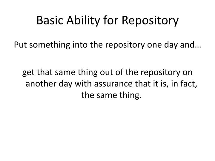 Basic Ability for Repository