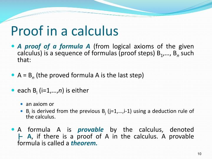 Proof in a calculus