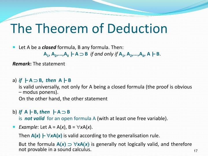 The Theorem of Deduction