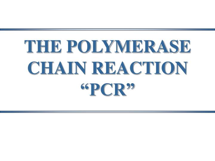 THE POLYMERASE CHAIN REACTION