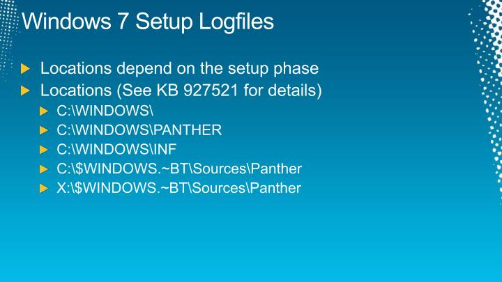 Windows 7 Setup Logfiles