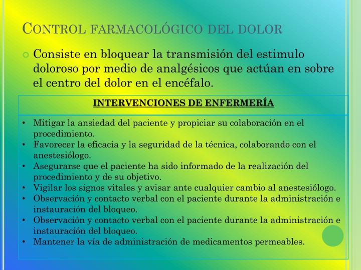 Control farmacológico del dolor