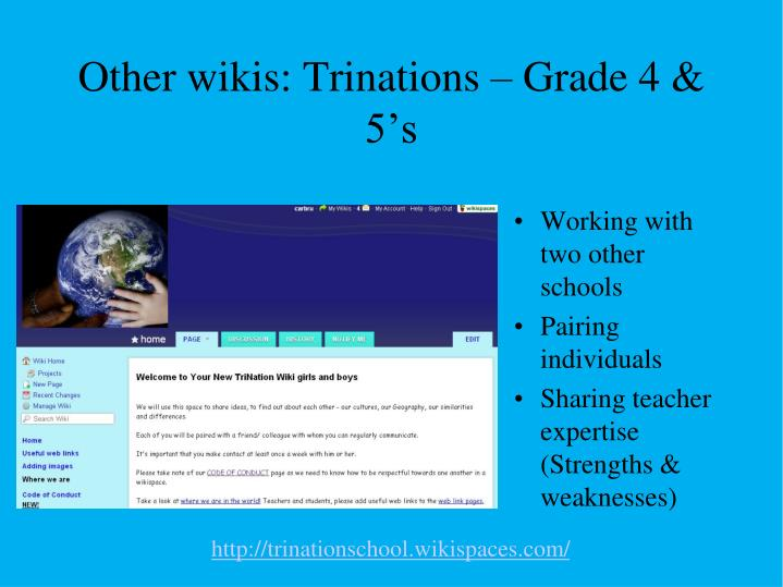 Other wikis: Trinations – Grade 4 & 5's