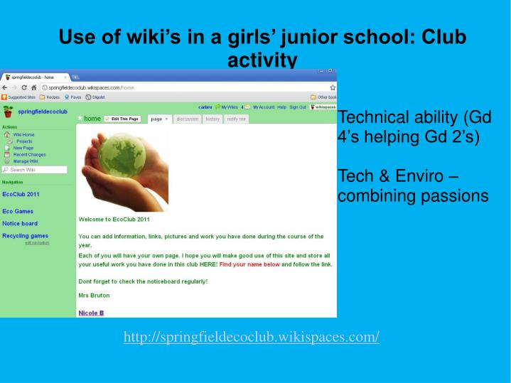 Use of wiki's in a girls' junior school: Club activity