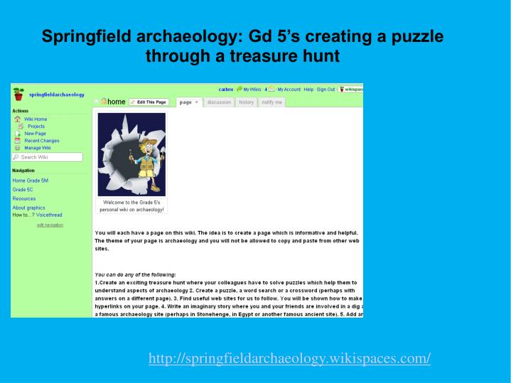 Springfield archaeology: Gd 5's creating a puzzle through a treasure hunt