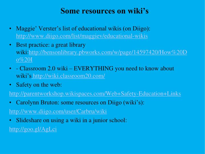 Some resources on wiki's