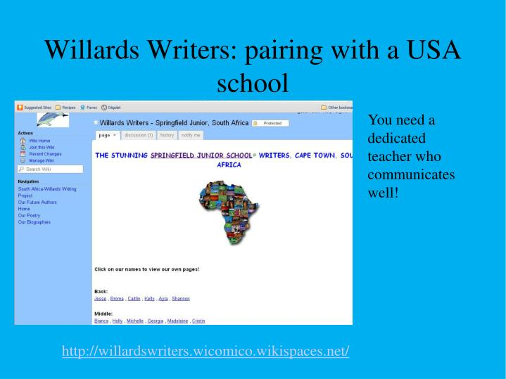 Willards Writers: pairing with a USA school