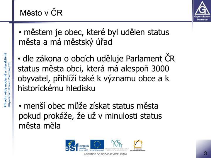 Město v ČR