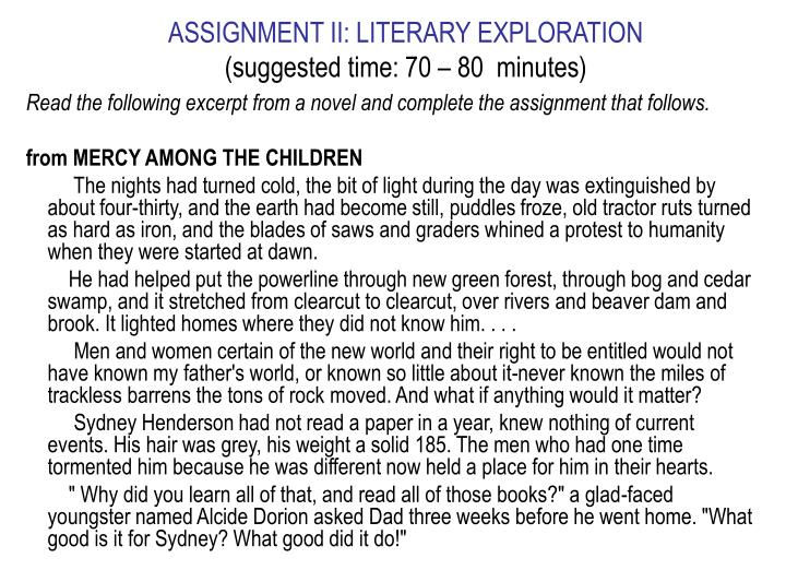 ASSIGNMENT II: LITERARY EXPLORATION