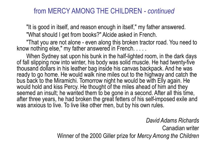 from MERCY AMONG THE CHILDREN