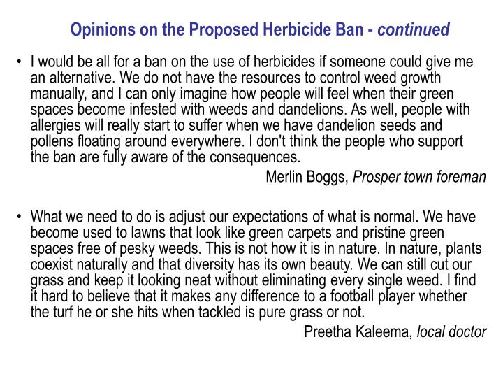 Opinions on the Proposed Herbicide Ban -