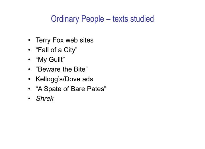 Ordinary People – texts studied