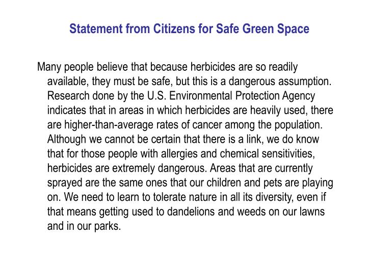 Statement from Citizens for Safe Green Space