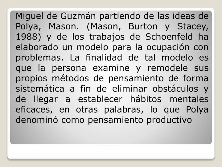 Miguel de Guzmán partiendo de las ideas de