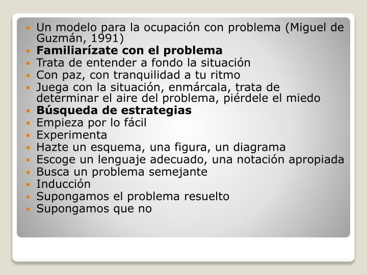 Un modelo para la ocupación con problema (Miguel de Guzmán,