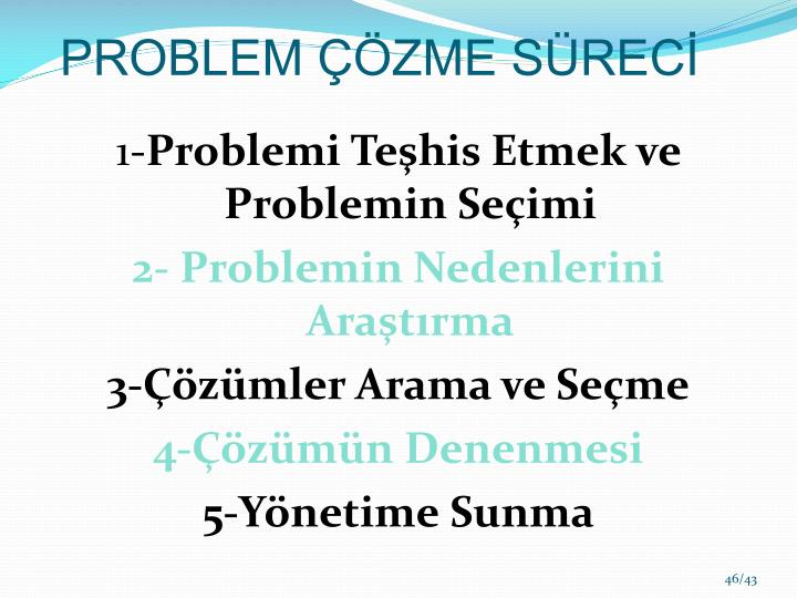 PROBLEM ÇÖZME SÜRECİ
