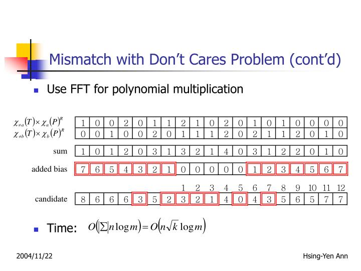 Mismatch with Don't Cares Problem (cont'd)