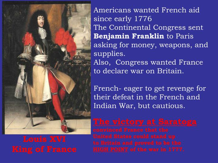 Americans wanted French aid since early 1776