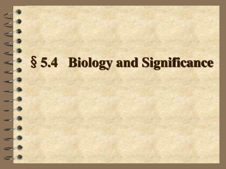 §5.4   Biology and Significance