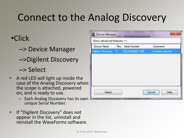 Connect to the Analog Discovery
