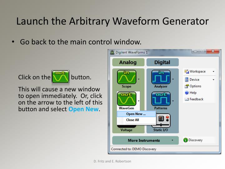 Launch the Arbitrary Waveform Generator