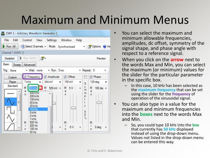 Maximum and Minimum Menus