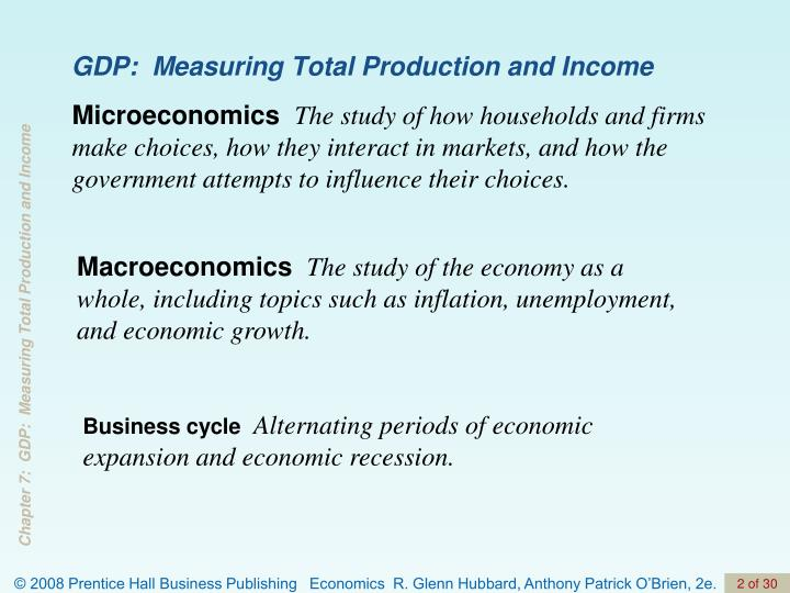 Gdp measuring total production and income