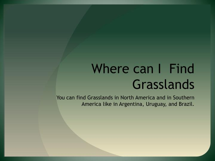 Where can I  Find Grasslands
