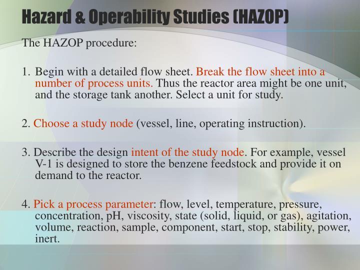 Hazard & Operability Studies (HAZOP)