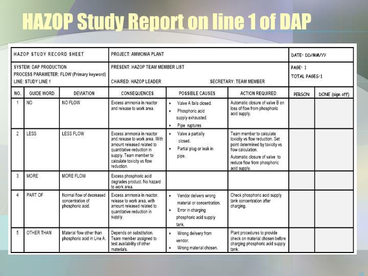 HAZOP Study Report on line 1 of DAP