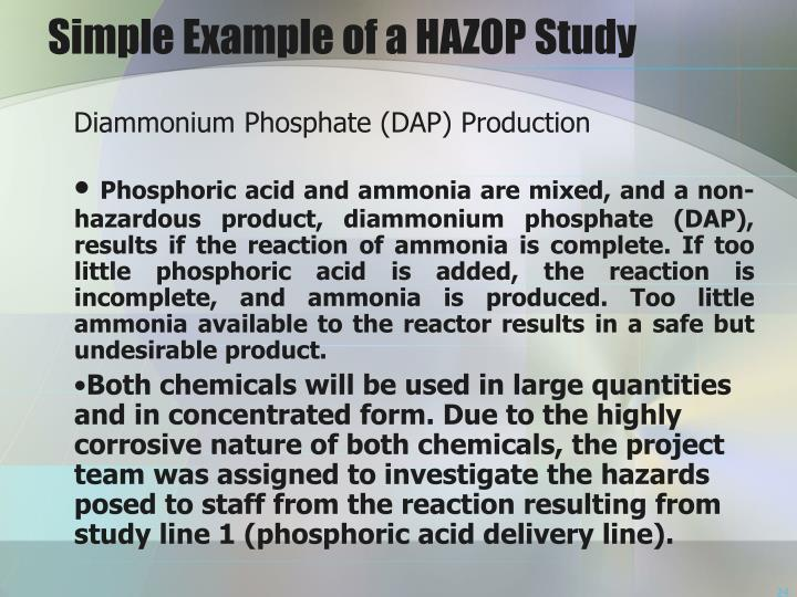 Simple Example of a HAZOP Study