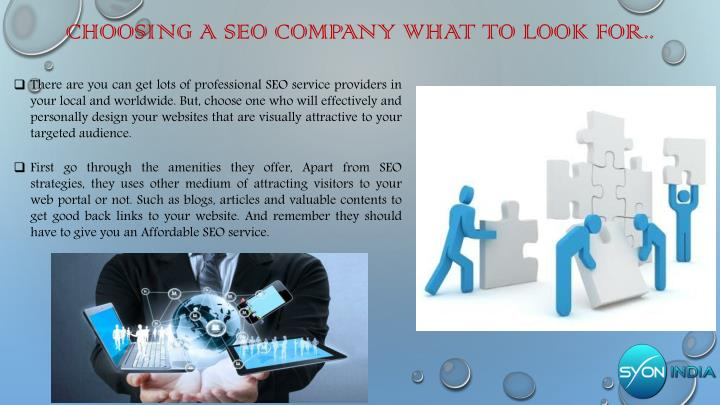 Choosing a seo company what to look for..