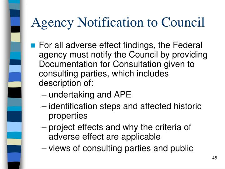 Agency Notification to Council