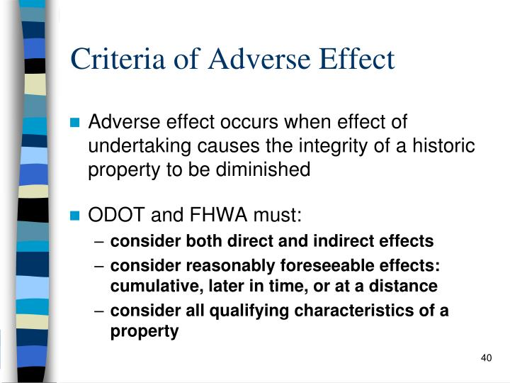 Criteria of Adverse Effect
