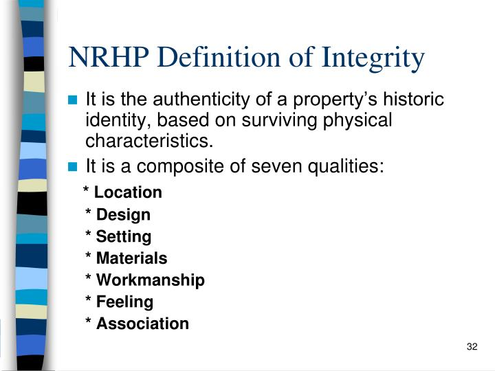NRHP Definition of Integrity