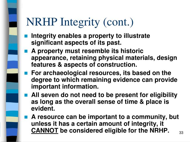 NRHP Integrity (cont.)
